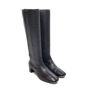 Tory Burch Black Leather Zip Up Riding Boots